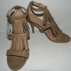 NEW Tan Fringe Heels Size 7